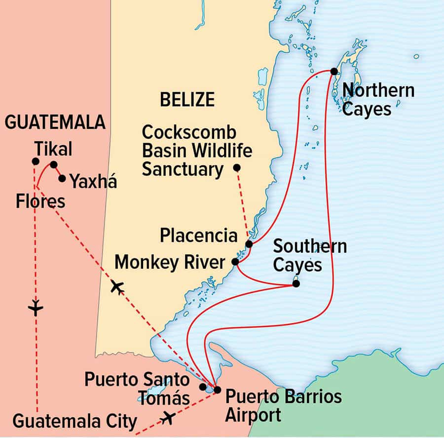 Belize to Tikal: Reefs, Rivers and Ruins of the Maya World cruise route map.