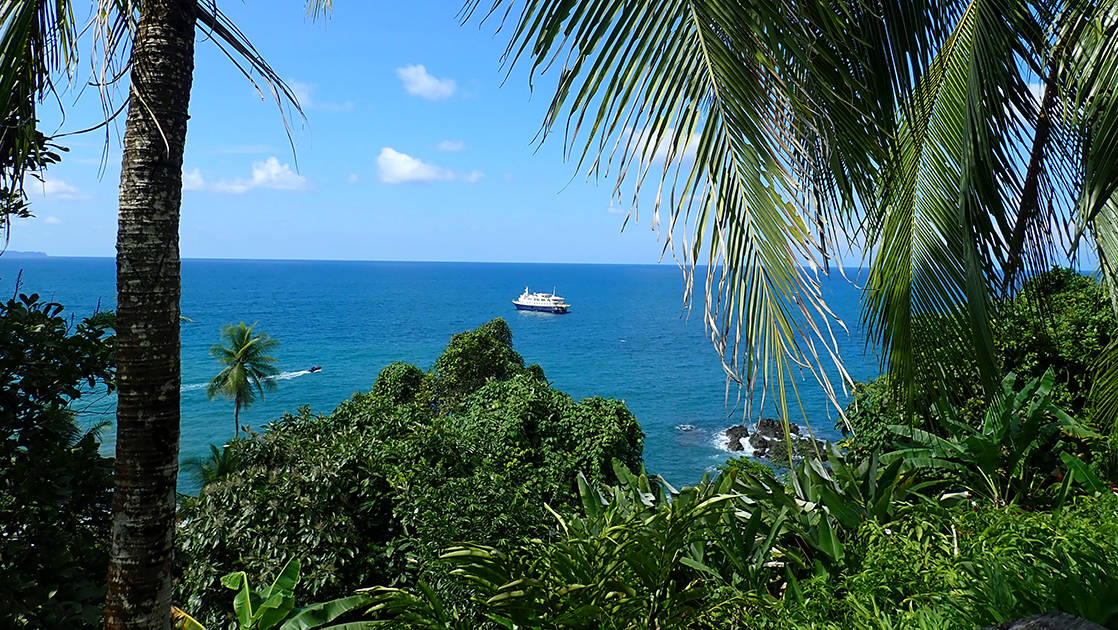 looking down at the caribbean with the safari voyager small ship anchored in the distance and jungle and palm trees in the foreground