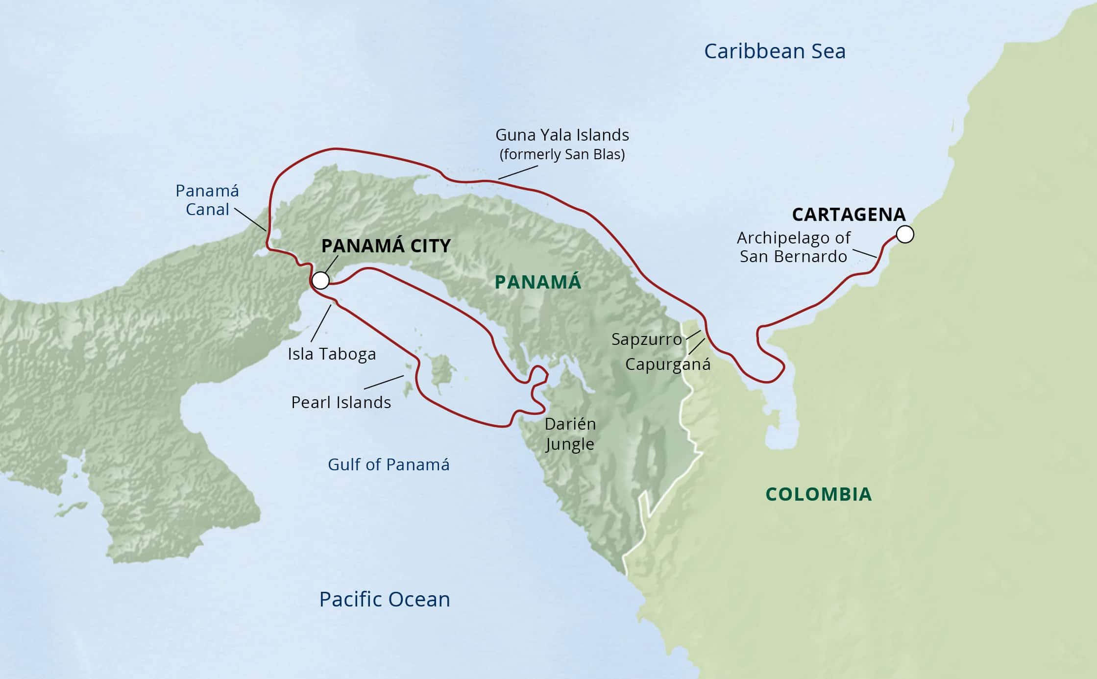 Colombia & Panama- COral, Jungles, Canal cruise route map.