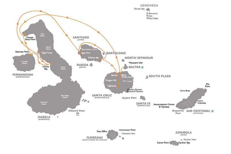 Galapagos cruise route map for 5-day Corals Western Galapagos Cruise with visits to Baltra, Santa Cruz, Isabela, Fernandina and Santiago islands.
