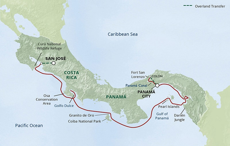 Route map of main & reverse Costa Rica & Panama—Canal, Culture & Adventure small ship cruise, operating between San Jose, Costa Rica & Panama City, Panama, with visits to Curu National Wildlife Refuge, Osa Conservation Area, Golfo Dulce, Granito de Oro, Coiba National Park, the Darien Jungle, Pearl Islands, Panama Canal & Fort San Lorenzo.