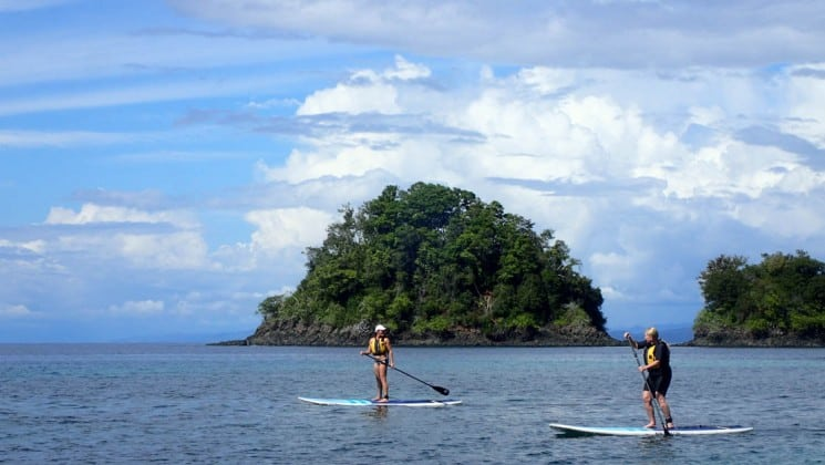 Two stand up paddleboarders on calm blue water with tropical island in background on CostaRica cruise