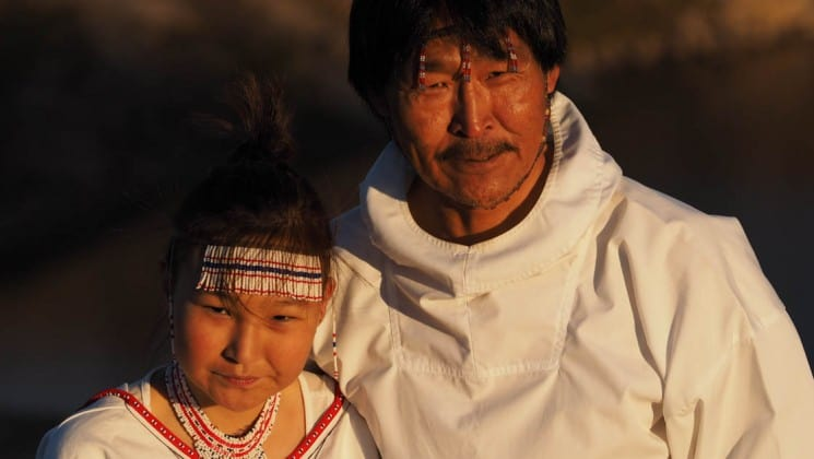 Local inuit family in greenland