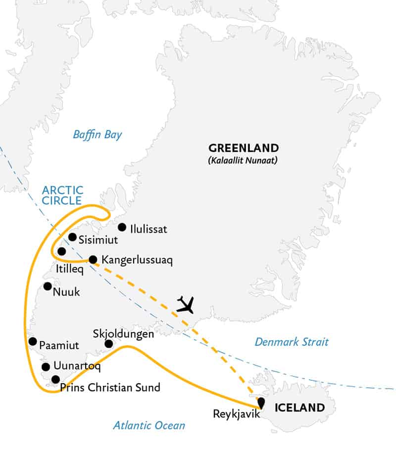 Essential Greenland: Southern Coasts & Disko Bay cruise route map.