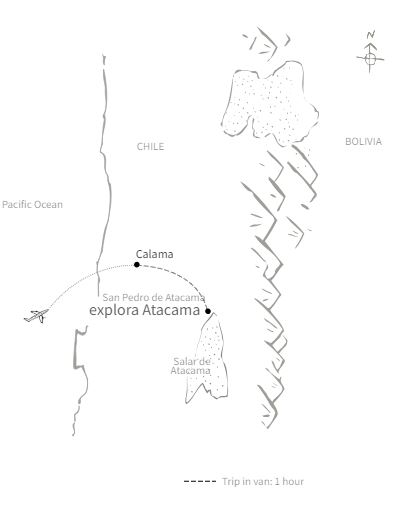Route map of 4-, 5-, 6- & 7-day Explora Atacama land tour, operating round-trip from Calama, Chile, with time spent in the desert community of Ayllu de Larache, in southern Chile.