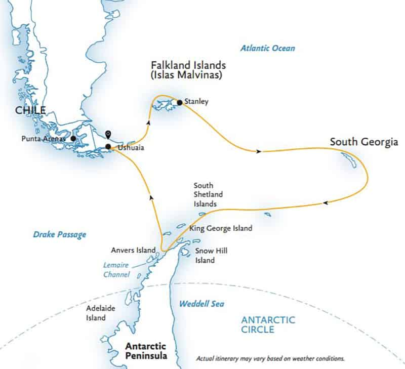 Route map of Explorers & Kings Antarctica small ship cruise main itinerary, operating roundtrip from Ushuaia, Argentina with stops at the Falkland Islands, South Georgia and the Antarctic Peninsula.
