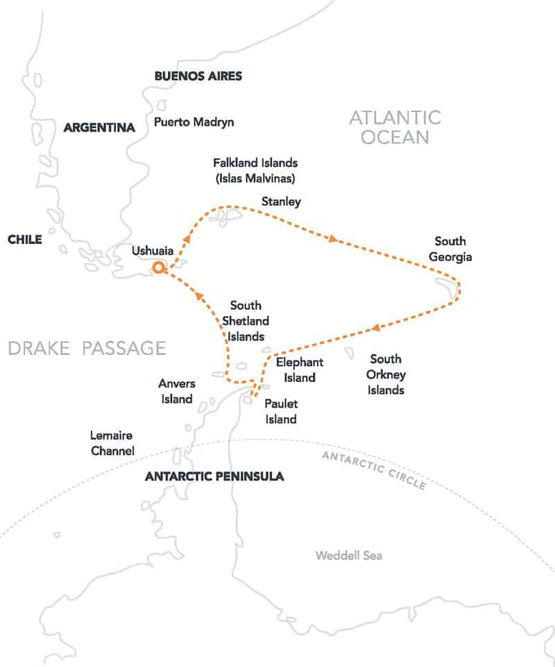 Route map of Antarctic Latitudes, Falklands & South Georgia Antarctica small ship cruise, operating roundtrip from Ushuaia, Argentina with stops at the Falkland Islands, South Georgia, the Antarctic Peninsula and South Shetland Islands.