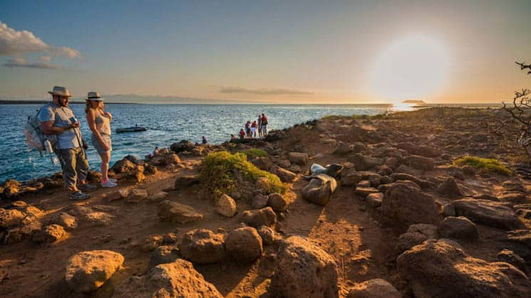galapagos travlers walking along a rocky cliff edge looking at a napping sea lion during sunset with a small ship anchored below them