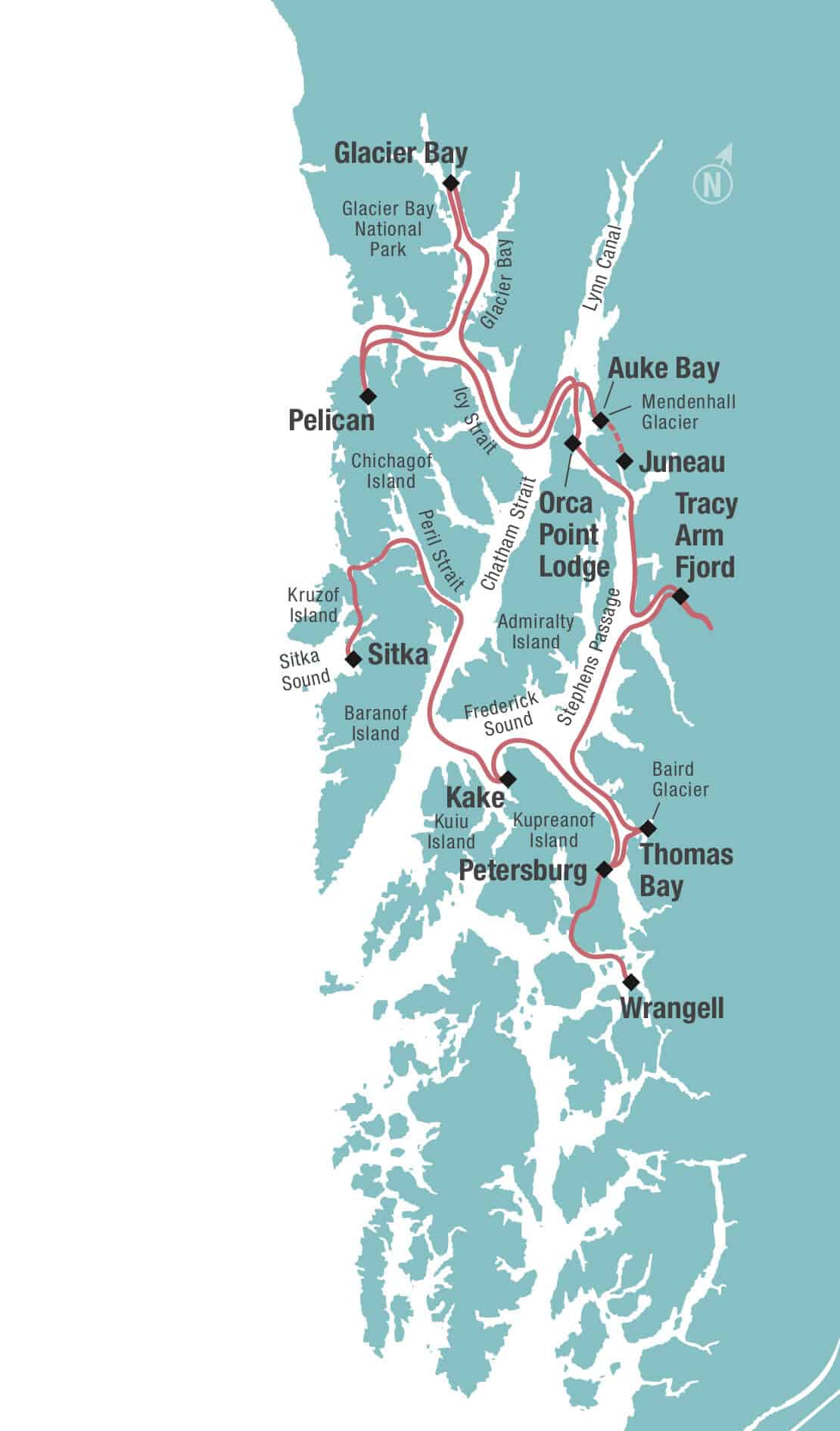 Route map of Glacier Bay & Island Adventure small ship cruise, operating from Sitka to Juneau or reverse, with visits to Wilderness Bay, Kake, Wrangell, Petersburg, Thomas Bay, Baird Glacier, Tracy Arm Fjord, Orca Point Lodge, Glacier Bay National Park, Lisianski Inlet & Pelican.