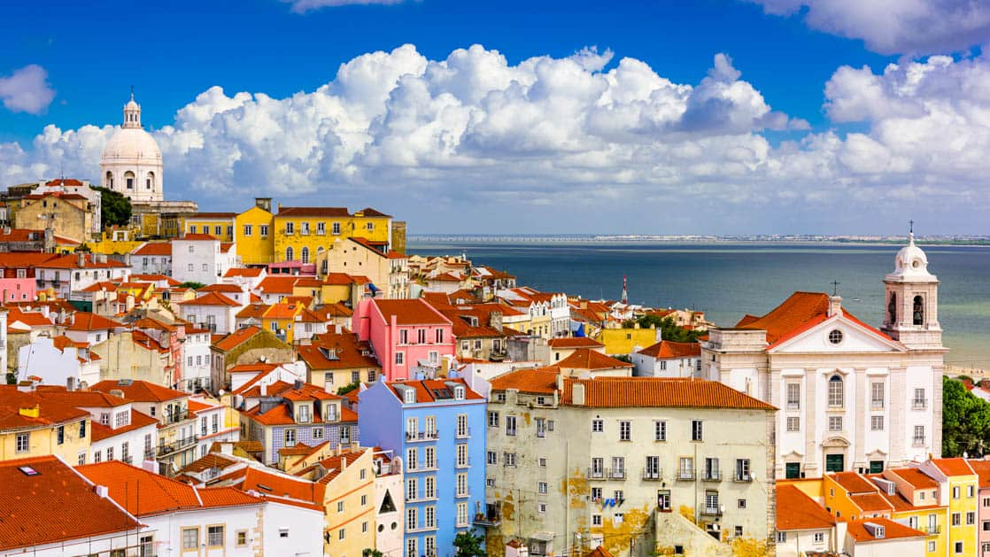 cityscape in the alfama district of Lisbon, portugal with colorful buildings