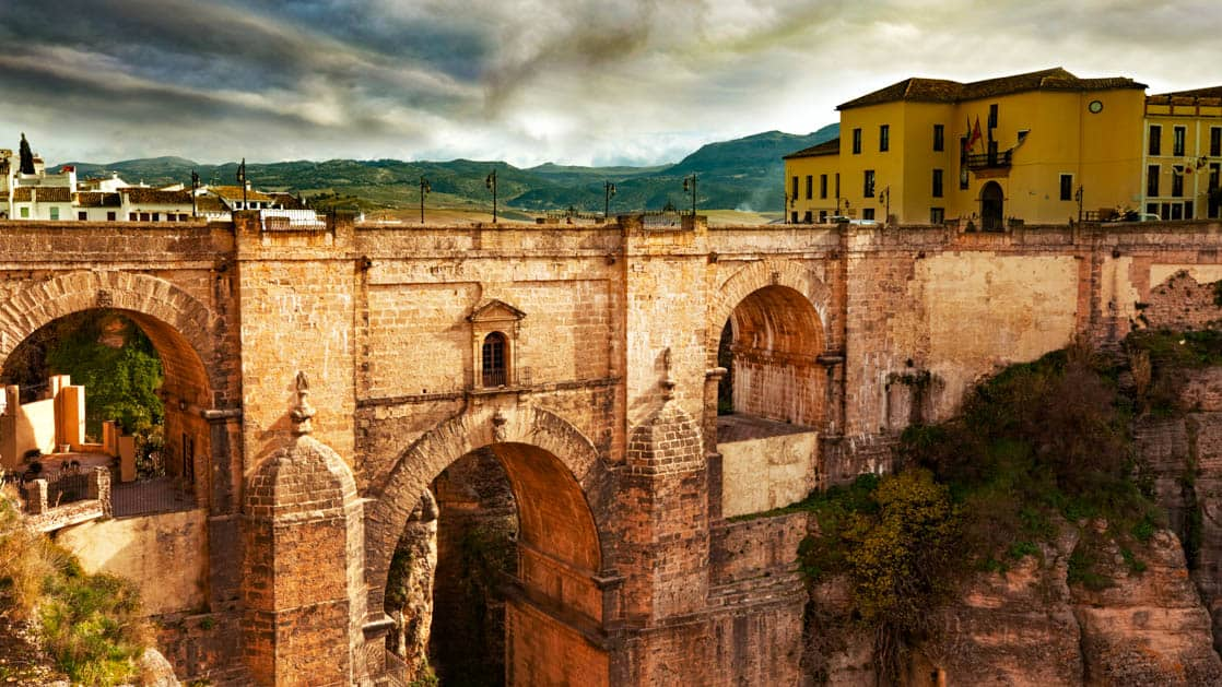 hilltop village of rondo in spain with a large and high bridge