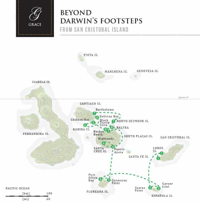 Grace Cruise Beyond Darwin's Footsteps route map showing the eastern, central and southern Galapagos Islands.