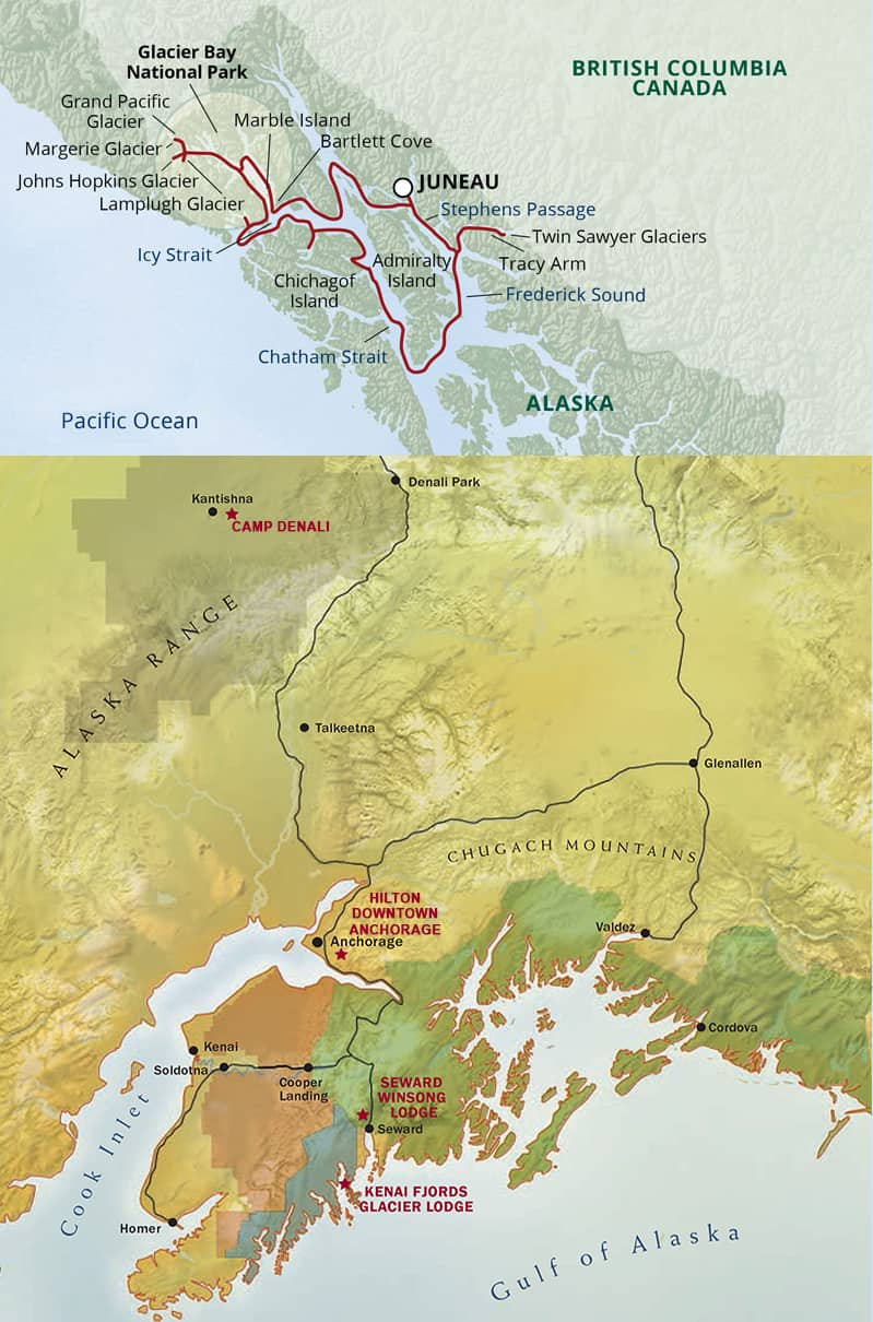 Route map of Great National Parks of Alaska ultimate land-and-sea trip, operating from Juneau to Anchorage, Alaska with visits to Glacier Bay National Park, Kenai Fjords & Denali National Park.