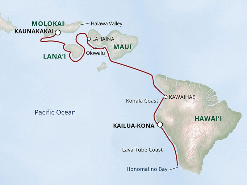 Hawaiian Seascapes Cruise Itinerary route map.