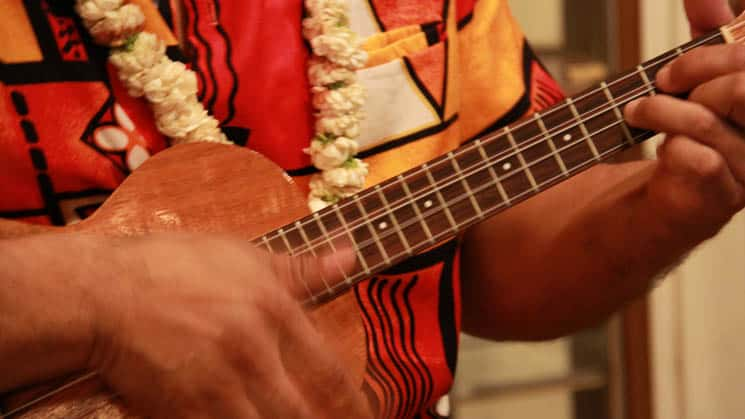 up close of a man's hand playing the hawaiian ukulele, his colorful shirt and flower lei behind it