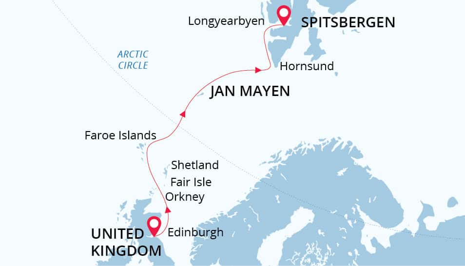 From the Highlands to the High Arctic route map from Scotland to Spitsbergen.