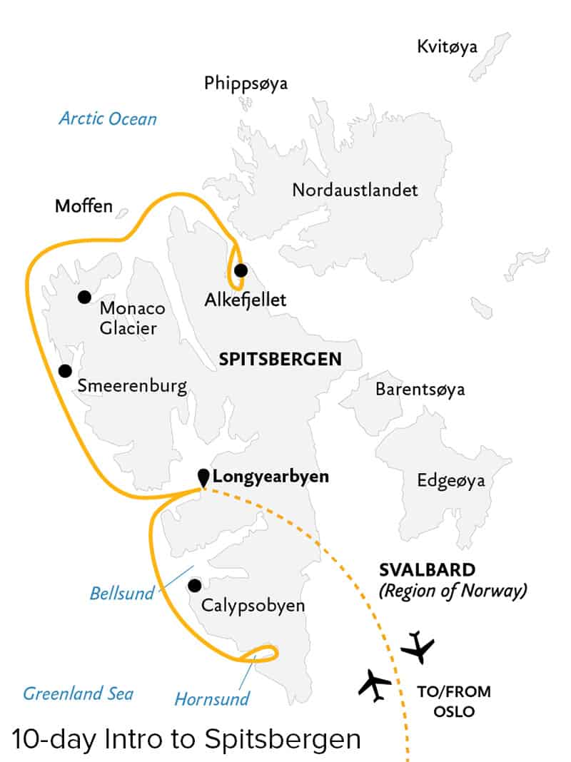 Route map of 10-day Introduction to Spitsbergen: Fjords, Glaciers & Wildlife of Svalbard voyage, operating round-trip from Longyearbyen, Norway, with visits to the western and northern shores of Spitsbergen, including Calypsobyen, Smeerenburg, the Monaco Glacier & Alkefjellet.