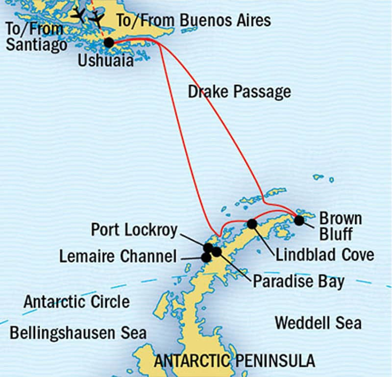 Route map of National Geographic The White Continent Antarctica small ship cruise, operating roundtrip from Ushuaia, Argentina, with stops along the Antarctic Peninsula.