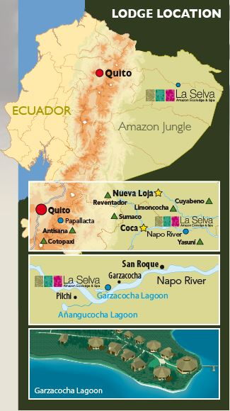 Map showing the placement of La Selva EcoLodge, at Garzacocha Lake along the Napo River in eastern Ecuador's Amazon rainforest basin.