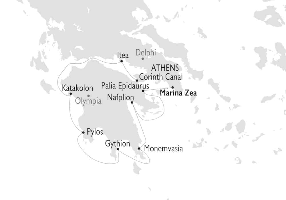 Antiquity to Byzantium cruise route map from Athens, Greece.