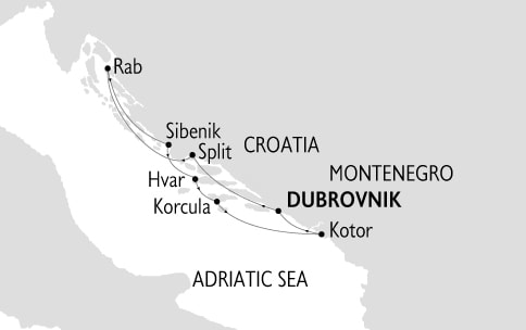 The Dalmatian Coast & Montenegro route map from Dubrovnik, Croatia.