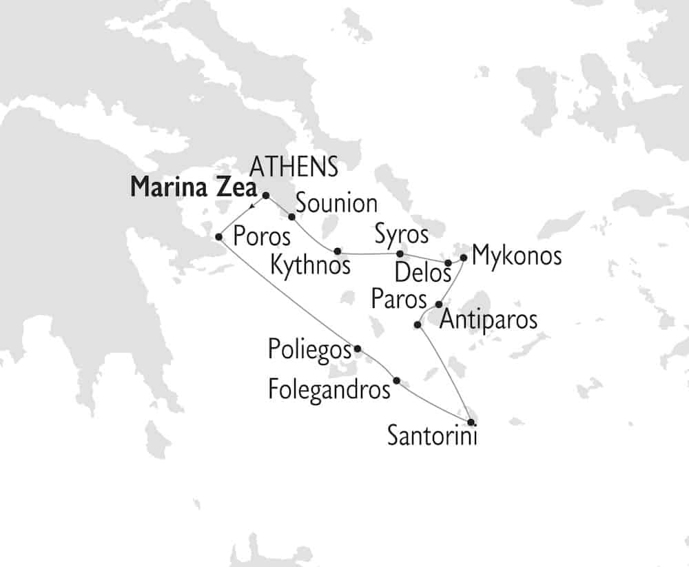 Jewels of the Cyclades route map.