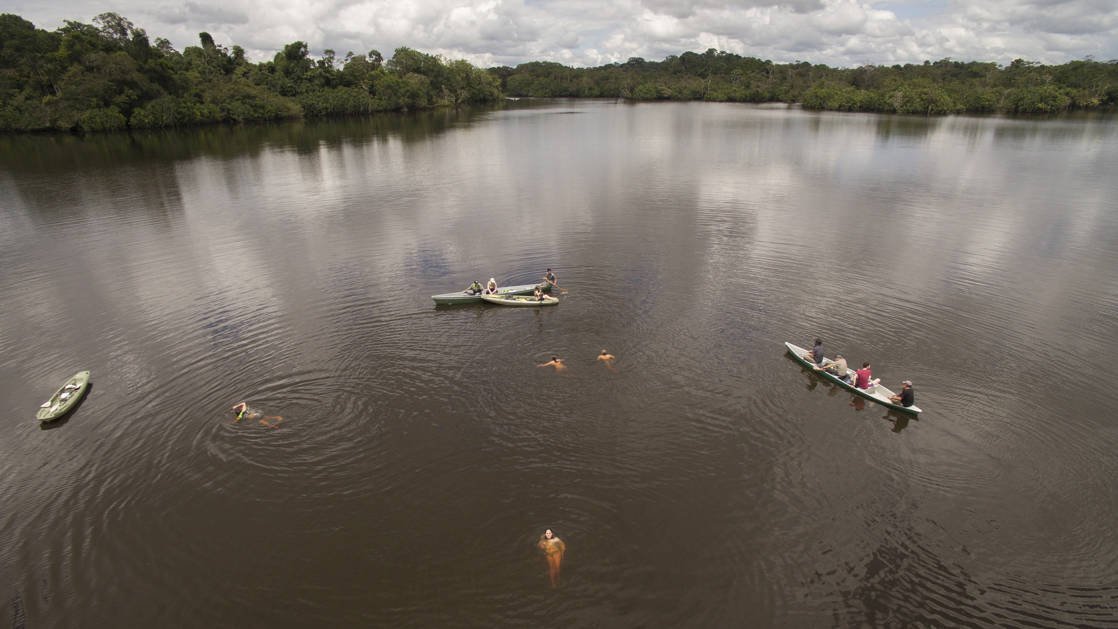 Aerial view of several kayaks in the river with a few people swimming in the middle of them