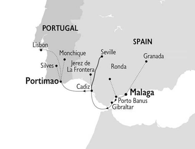 Route map of Glories of Spain & Portugal Mediterranean small ship cruise, operating between Malaga, Spain and Lisbon, Portugal with visits to Alhambra & Granada, Porto Banus & Ronda, Gibraltar, Seville, Jerez de la Frontera & Portimao.