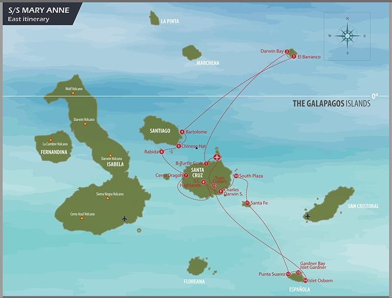 Mary Anne Eastern Islands Cruise route map.