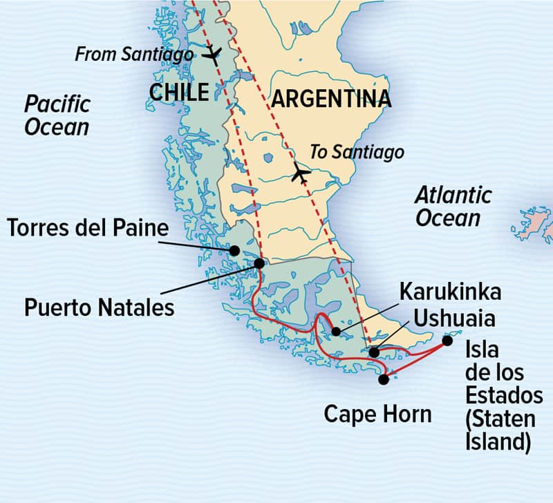 Chilean Fjords and Argentina's Staten Island wildlife cruise route map.