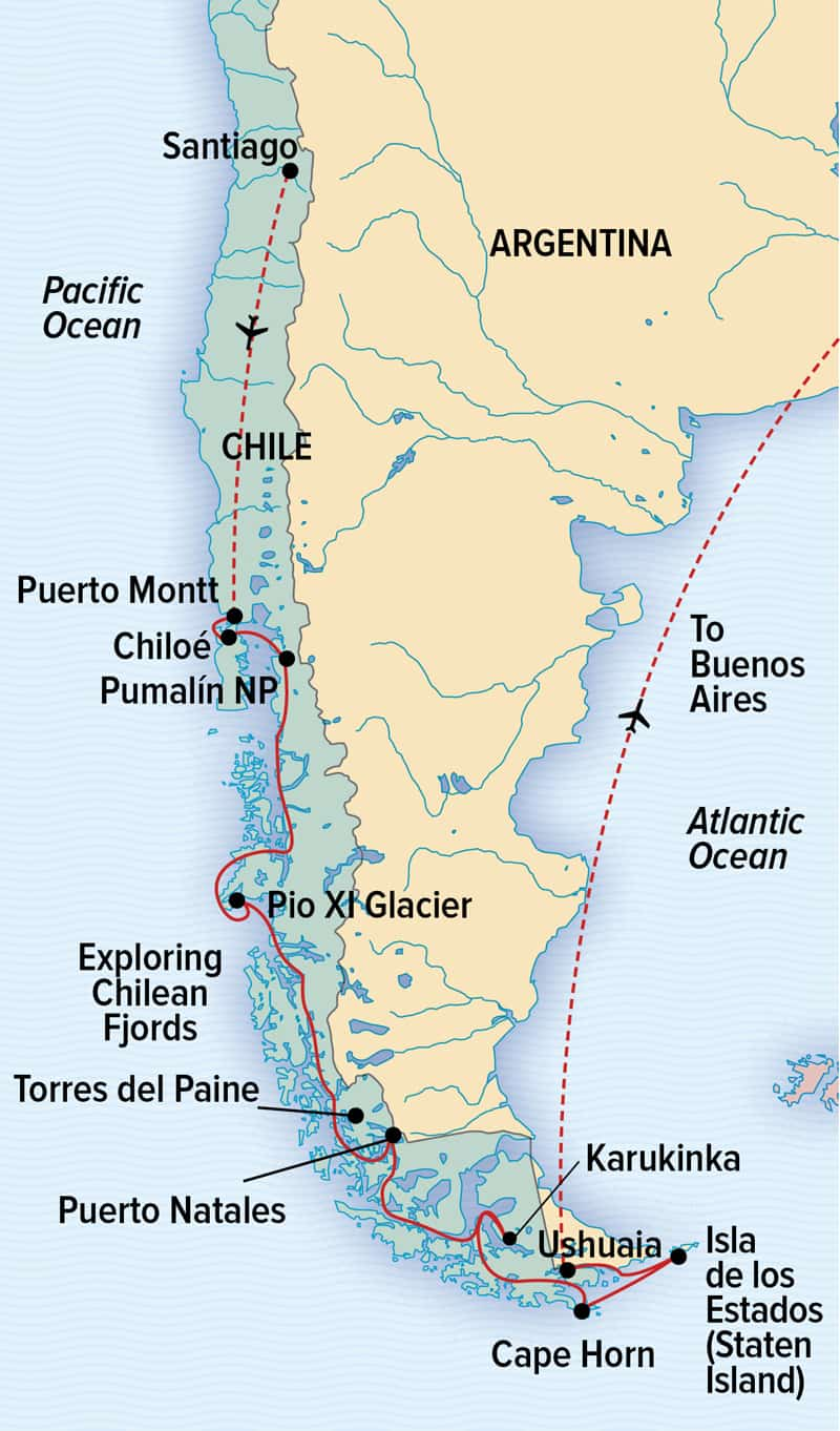National Geographic Epic Patagonia cruise route map that begins in Chile and ends in Argentina.