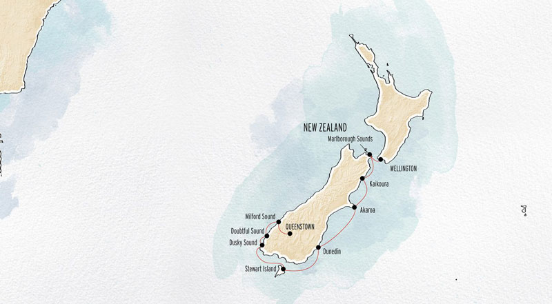 New Zealand By Sea: Southern Coast route map from Wellington to Queenstown.