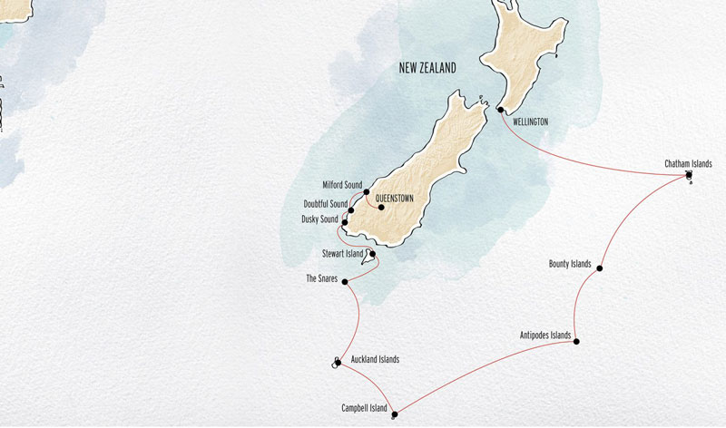 Route map of Subantarctic & Chatham Islands Expedition cruise from Queenstown to Wellington, New Zealand, with possible visits to the Islands of Chatham, Bounty, Antipodes, Campbell, Auckland, Snares, Stewart & Ulva, plus Fiordland National Park.
