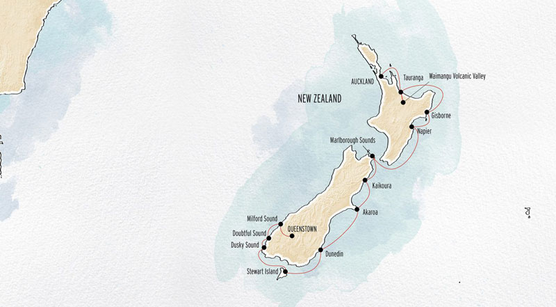 New Zealand by Sea route map from Auckland to Queenstown.