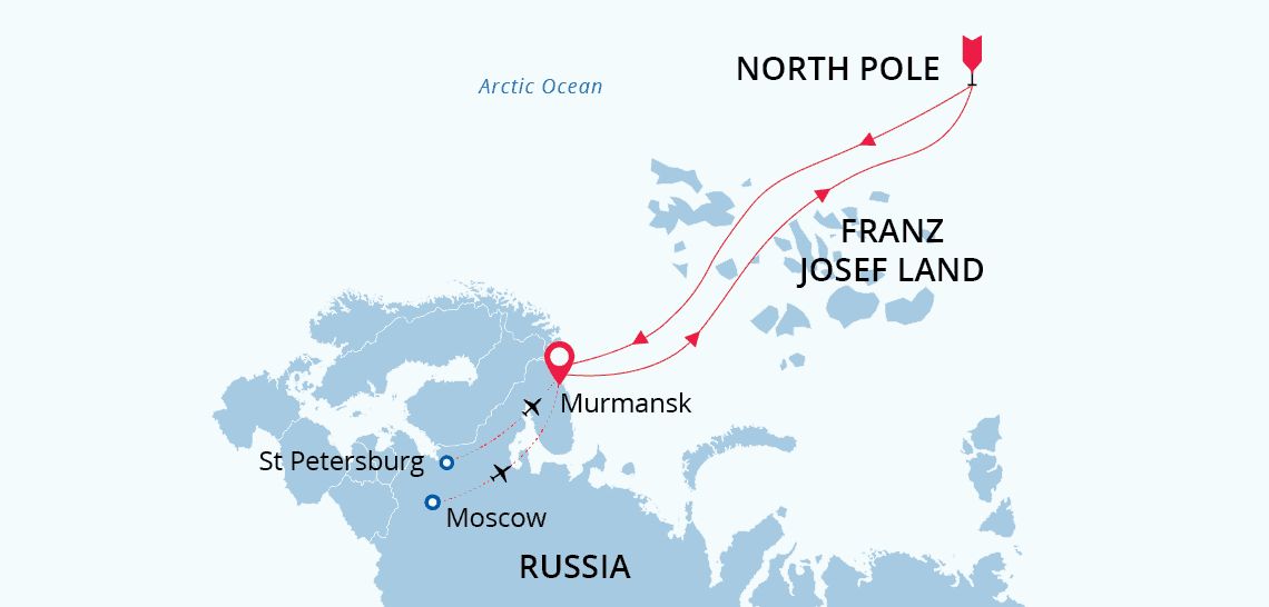 Map depicting cruise itinerary for North Pole: top of the world.
