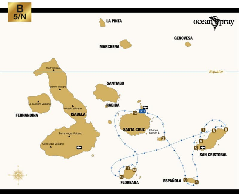 Route map of Ocean Spray Galapagos small ship cruise 6-day South itinerary, visiting Baltra, Santa Fe, Espanola, San Cristobal, Floreana and Santa Cruz islands.
