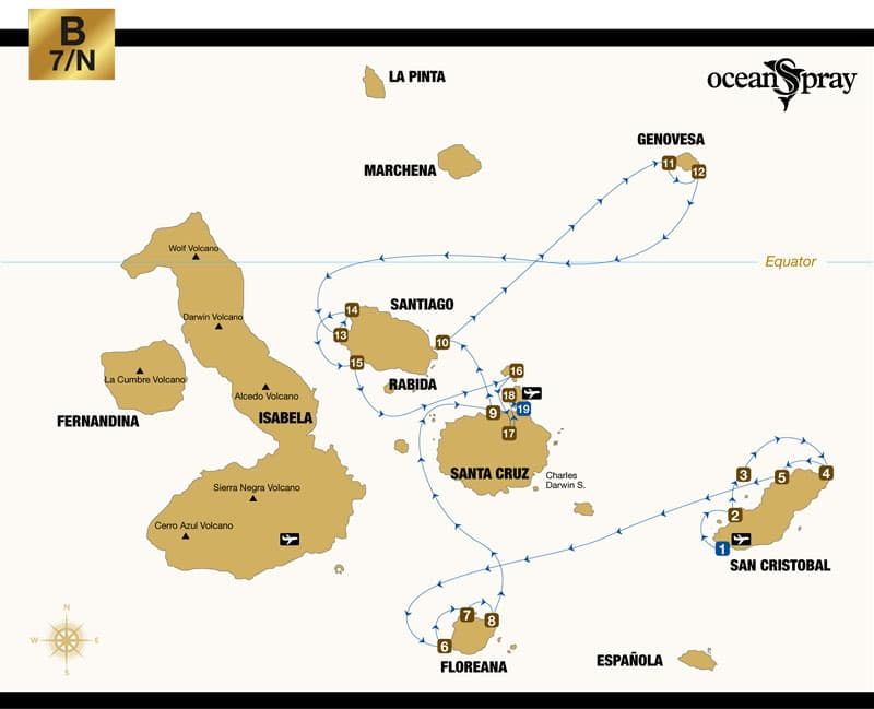 Route map of Ocean Spray Galapagos small ship cruise 8-day East itinerary, visiting San Cristobal, Floreana, Santa Cruz, Bartolome, Genovesa, Santiago, North Seymour, Mosquera Islet and Baltra islands.