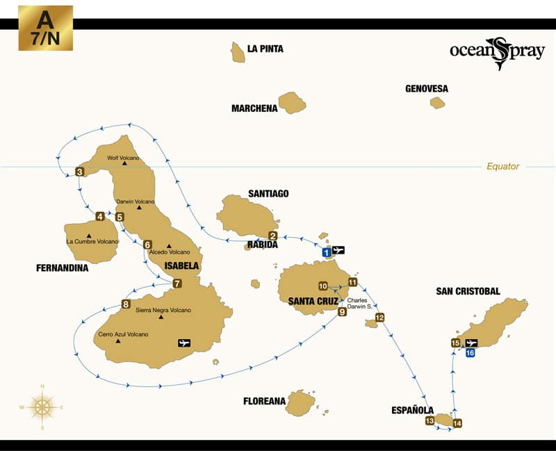 Route map of Ocean Spray Galapagos small ship cruise 8-day West itinerary, visiting Baltra, Chinese Hat, Isabela, Fernandina, Santa Cruz, South Plaza, Santa Fe, Espanola and San Cristobal islands.