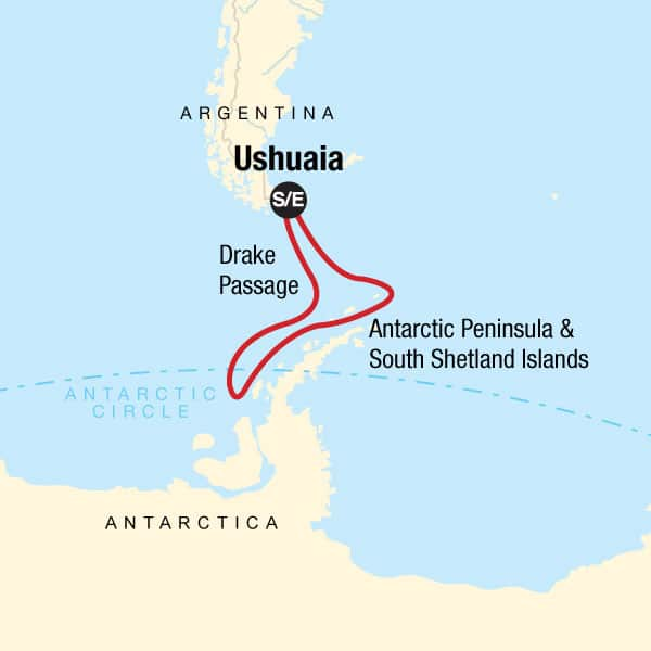 Quest for the Antarctic Circle cruise route map, operating round-trip from Ushuaia, Argentina..