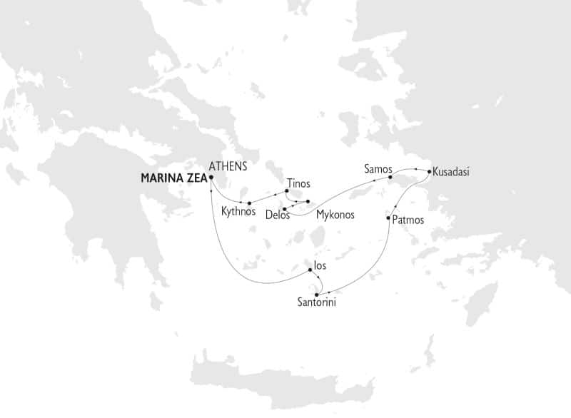 Route map of 8-day Aegean Odyssey Mediterranean small ship cruise, operating round-trip from Athens, Greece, in the Aegean Sea, with visits to the Greek islands of Ios, Santorini, Patmos, Samos, Delos, Mykonos, Tinos, Kythnos or Kea, plus the Turkish island of Kusadasi.