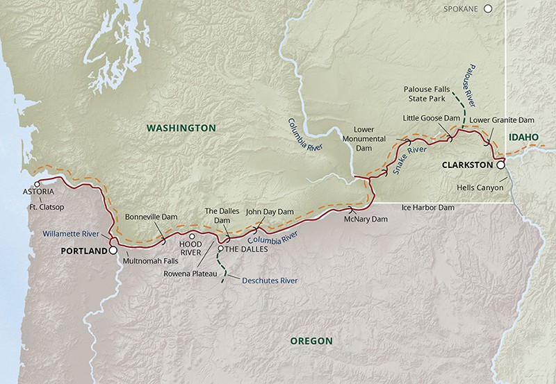 Rivers of Adventure cruise route map through the Pacific Northwest from Portland to Clarkston.
