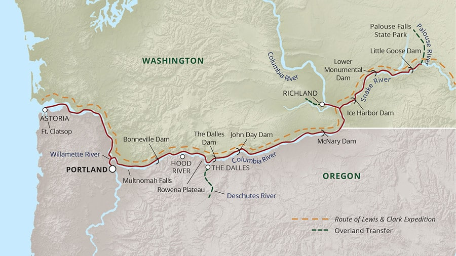 Rivers of Adventure cruise route map through the Pacific Northwest round trip from Portland, Oregon.