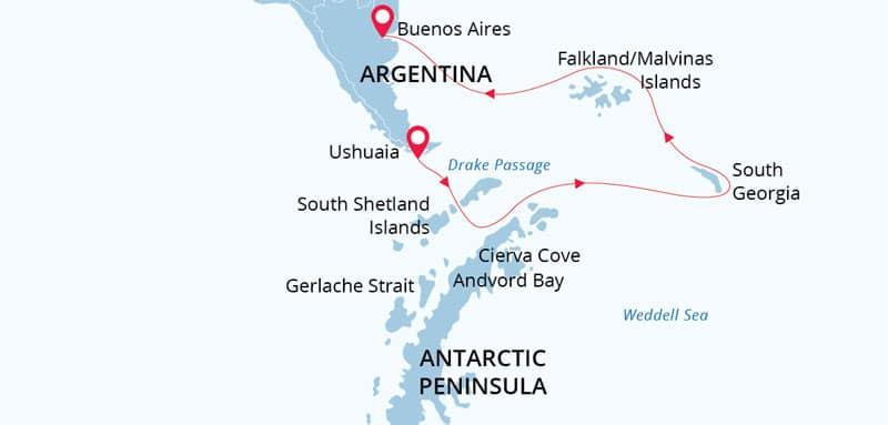 Route map of the Antarctic Wildlife Adventure voyage, operating between Ushuaia & Buenos Aires, Argentina, with visits to the Falkland Islands, South Georgia Island & the Antarctic Peninsula.