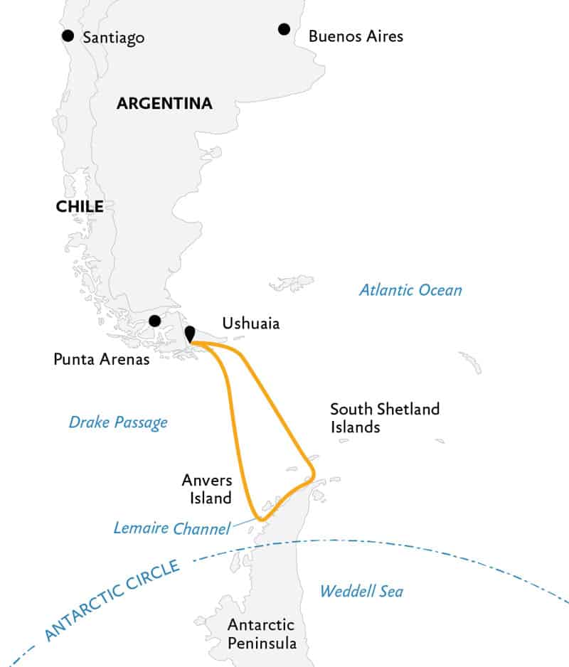 Route map of 11- & 12-day Antarctic Explorer small ship expedition, operating round-trip from Ushuaia, Argentina with visits to the South Shetland Islands and the Antarctic Peninsula.