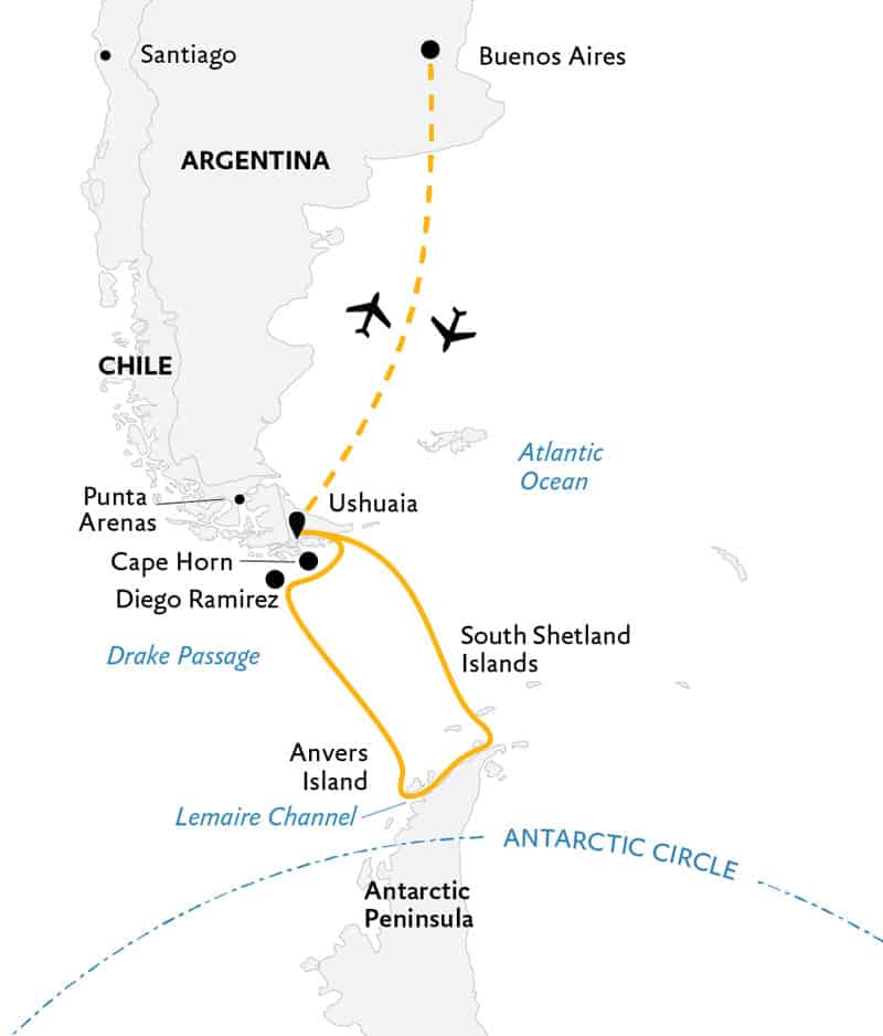 Route map of 13-day Antarctic Explorer Plus Cape Horn & Diego Ramirez small ship expedition, operating round-trip from Buenos Aires, Argentina, with visits to the South Shetland Islands and the Antarctic Peninsula.