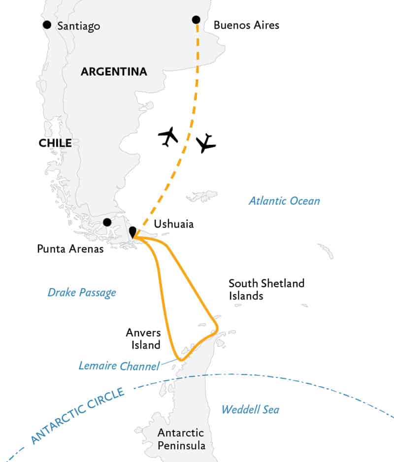 Route map of 11-day Antarctic Explorer small ship expedition, operating round-trip from Buenos Aires, Argentina, with visits to the South Shetland Islands and the Antarctic Peninsula.