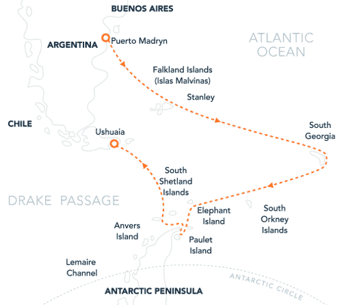 Route map of Falklands, South Georgia & Antarctica small ship expedition cruise beginning in Puerto Madryn and ending in Ushuaia, Argentina.