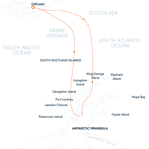 Route map of Antarctic Latitudes Peninsula Express Itinerary, operating round-trip from Ushuaia, Argentina, with visits to the South Shetland Islands & the Antarctic Peninsula.