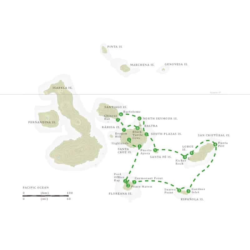 Route map of Beyond Darwin's Footsteps Galapagos small ship cruise aboard M/V Grace, with visits to Baltra, Santa Cruz, Floreana, Espanola, San Cristobal, Santa Fe, South Plaza, North Seymour & Bartolome islands.