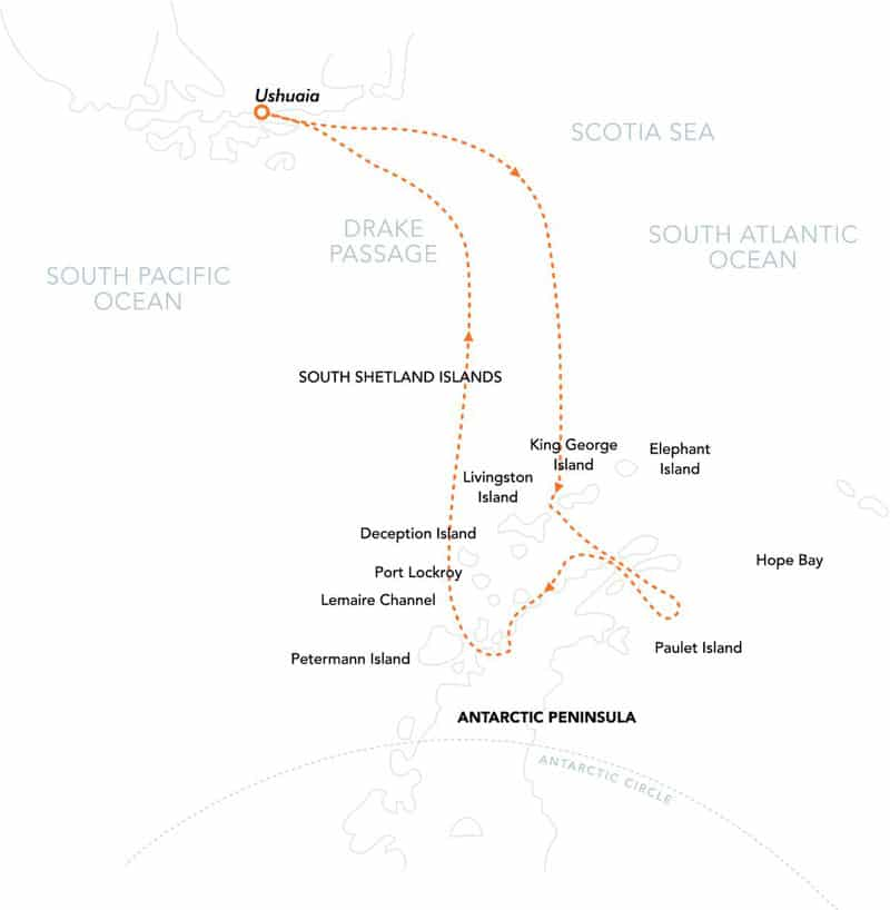 Route map of Christmas in Antarctica voyage, operating round-trip from Ushuaia, Argentina, with visits to the Antarctic Sound, Weddell Sea, South Shetland Islands and the Peninsula.